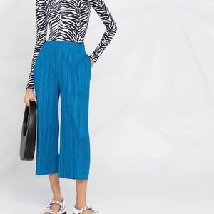 Issey Miyake Pleats Please blue cropped trousers